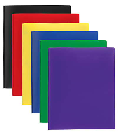 """Office Depot® Brand 2-Pocket Poly Portfolios With Prongs, 8-1/2"""" x 11"""", Assorted Colors, Pack Of 24"""