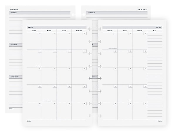 TUL® Discbound Academic Weekly/Monthly Planner Refill Pages, Junior Size, July 2021 To June 2022