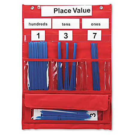 """Learning Resources Pocket Chart, 17 3/4"""" x 13"""", Counting And Place Value, Grades 1 And Up"""