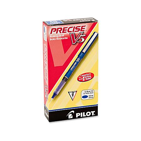Pilot® Precise™ V5 Liquid Ink Rollerball Pens, Extra Fine Point, 0.5 mm, Blue Barrel, Blue Ink, Pack Of 12 Pens