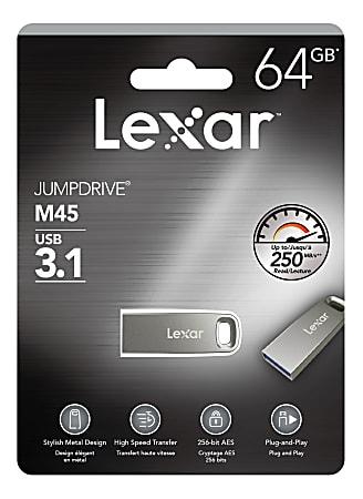 Lexar® JumpDrive® M45 USB 3.1 Flash Drive, 64GB, Silver, LJDM45-64GABSLNA