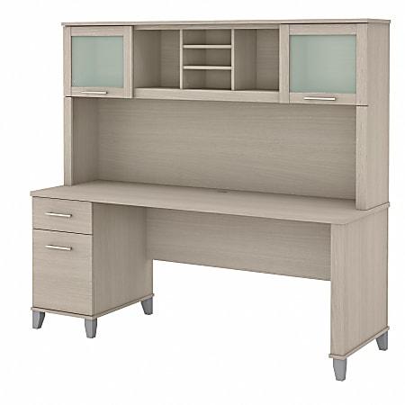 "Bush® Furniture Somerset 72""W Office Desk With Hutch, Sand Oak, Standard Delivery"