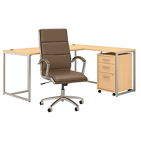 """kathy ireland® Office by Bush Business Furniture Method 72""""W L-Shaped Desk With Mobile File Cabinet And High-Back Office Chair, Natural Maple, Standard Delivery"""