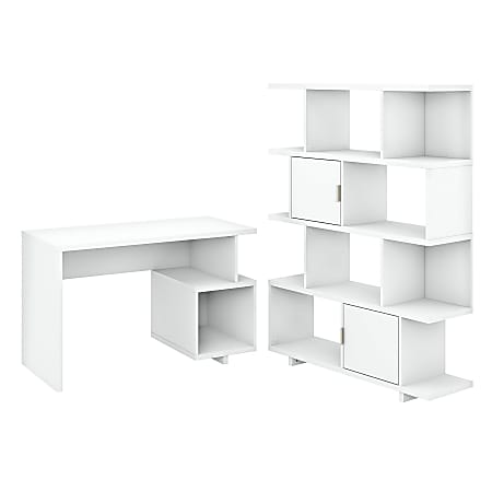 """kathy ireland® Home by Bush Furniture Madison Avenue 48""""W Writing Desk With Etagere Bookcase, Pure White, Standard Delivery"""