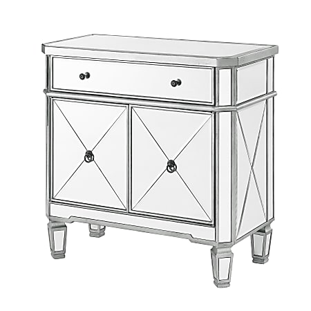 """Powell® Home Fashions Felicia Console Table, 32-1/4""""H x 32""""W x 16""""D, Mirrored/Gray"""