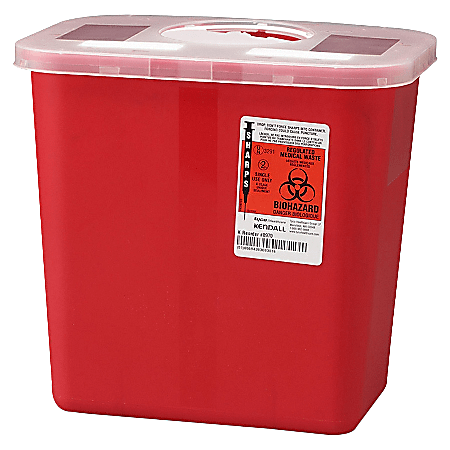 Unimed Sharps Container With Rotor Lid, 2 Gallon