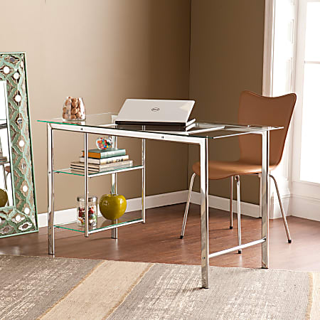 Southern Enterprises Oslo Chrome & Glass Desk, Chrome/Clear