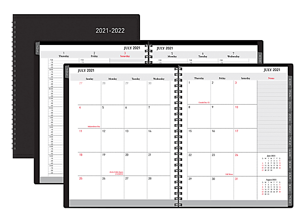 """Office Depot® Brand Weekly/Monthly Academic Planner, Vertical Format, 6-5/8"""" x 8-3/4"""", 30% Recycled, Black, July 2021 to August 2022, ODUS2033-015"""