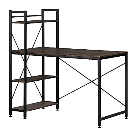 South Shore Evane Industrial Computer Desk With Storage, Cracked Fall Oak