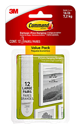 Command™ Large Picture Hanging Strips, Damage-Free, White, Pack of 12 Pairs of Strips