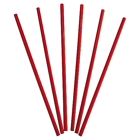 """Dixie® Wrapped Giant Straws, 10 1/4"""", Red, 300 Straws Per Box, Carton Of 4 Boxes"""