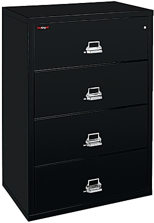 """FireKing® UL 1-Hour 44-1/2""""W Lateral 4-Drawer File Cabinet, Metal, Black, White Glove Delivery"""