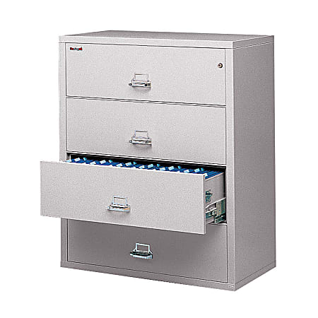 """FireKing® UL 1-Hour 44-1/2""""W Lateral 4-Drawer File Cabinet, Metal, Platinum, White Glove Delivery"""