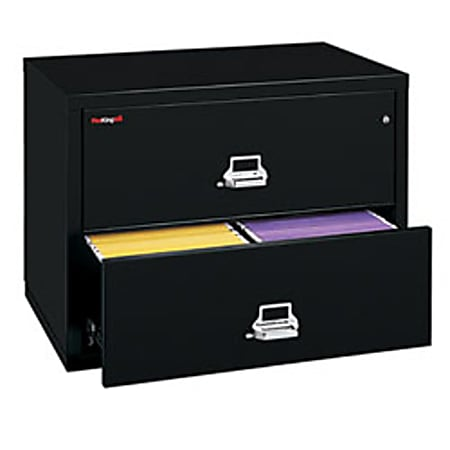 """FireKing® UL 1-Hour 37-1/2""""W Lateral 2-Drawer File Cabinet, Metal, Black, White Glove Delivery"""