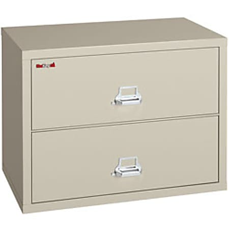 """FireKing® UL 1-Hour 44-1/2""""W Lateral 2-Drawer File Cabinet, Metal, Parchment, White Glove Delivery"""