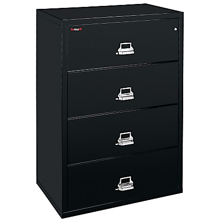 """FireKing® UL 1-Hour 31-1/8""""W Lateral 4-Drawer File Cabinet, Metal, Black, White Glove Delivery"""