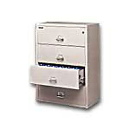 """FireKing® UL 1-Hour 31-1/8""""W Lateral 4-Drawer File Cabinet, Metal, Platinum, White Glove Delivery"""