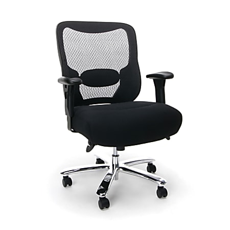 OFM Essentials Big And Tall Mesh Mid-Back Chair, Black