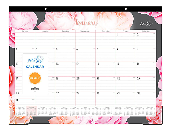 "Blue Sky™ Monthly Desk Pad Calendar, 22"" x 17"", Joselyn, January to December 2021, 102714"