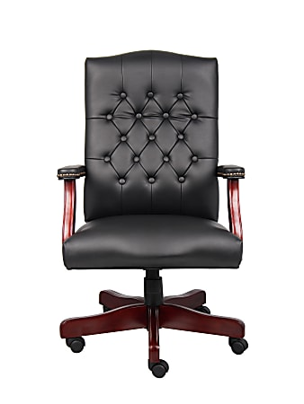 """Boss Office Products Traditional Ergonomic High-Back Executive Chair, 47""""H,Black/Mahogany"""