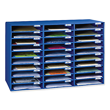 Pacon® 70% Recycled Corrugated Mail Box, 30 Slots, Blue