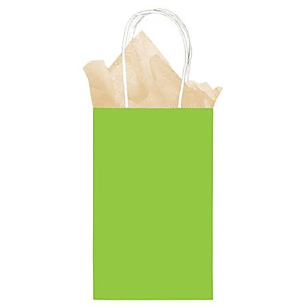 "Amscan Small Kraft Paper Gift Bags, 8-1/4""H x 5-1/4""W x 2-1/4""D, Kiwi Green, Pack Of 24 Bags"