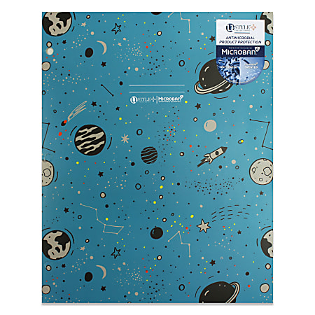 """U Style 2-Pocket Paper Folder With Microban® Antimicrobial Protection, 9-9/16"""" x 11-11/16"""", Blue/Space"""