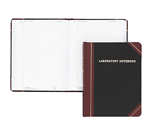 "Boorum & Pease Boorum Laboratory Record Notebooks - 150 Sheets - Sewn - 8 1/8"" x 10 3/8"" - White Paper - Black Cover - Fabrihide Cover - Acid-free, Hard Cover, Water Proof - 1Each"