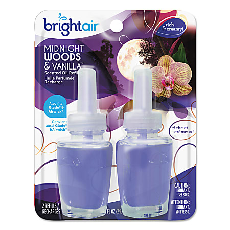 BRIGHT Air® Electric Scented Oil Air Freshener Refills, Midnight Woods & Vanilla™ Scent, 0.67 Oz Jar, Pack Of 2