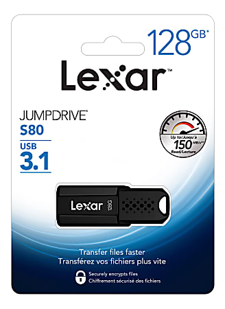 Lexar® JumpDrive® S80 USB 3.1 Flash Drive, 128GB, Black, LJDS80-128BNBNU