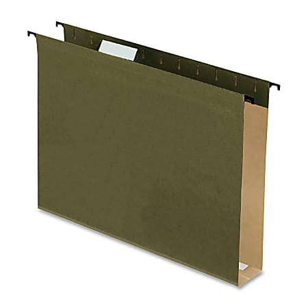 """Pendaflex® Extra-Capacity Hanging File Folders, 2"""" Expansion, Letter Size, Green, Box Of 20 Folders"""