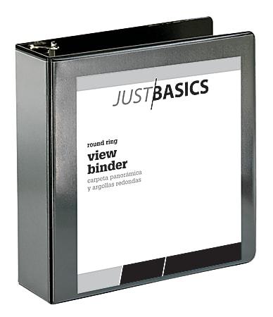 "Just Basics® Basic View 3-Ring Binder, 3"" Round Rings, 41% Recycled, Black"