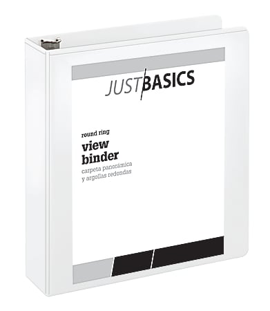 "Just Basics® Basic View 3-Ring Binder, 2"" Round Rings, 41% Recycled, White"