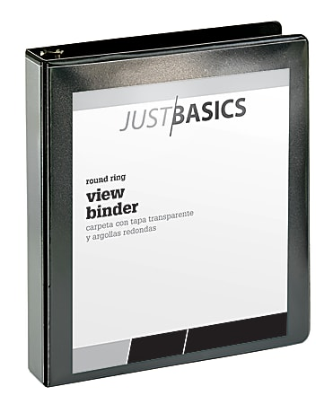 "Just Basics® Basic View 3-Ring Binder, 1 1/2"" Round Rings, 41% Recycled, Black"