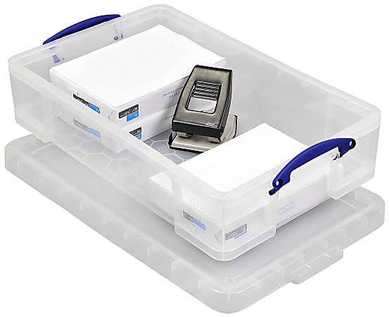 """Really Useful Box® Plastic Storage Container With Built-In Handles And Snap Lid, 33 Liters, 28"""" x 17 3/8"""" x 6 5/8"""", Clear"""