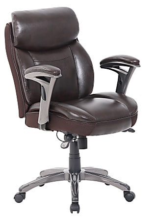 Serta® Smart Layers™ Siena Bonded Leather Mid-Back Manager's Chair, Brown