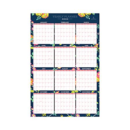 "Day Designer Laminated Wall Calendar, 36"" x 24"", Peyton Navy, January to December 2022, 103632"