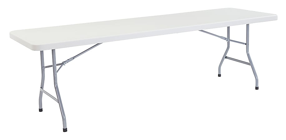 """National Public Seating Blow-Molded Folding Table, Rectangular, 96""""W x 30""""D, Light Gray/Gray"""