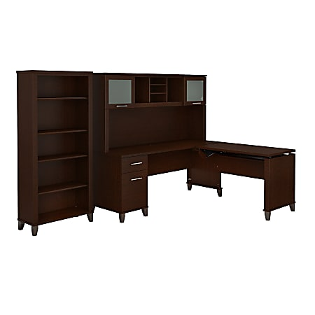 "Bush Furniture Somerset 72""W 3 Position Sit to Stand L Shaped Desk With Hutch And Bookcase, Mocha Cherry, Standard Delivery"