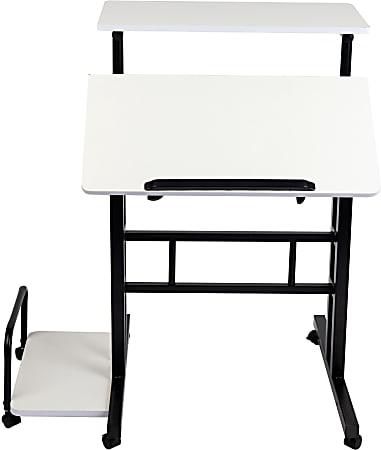 "Mind Reader 27""W Mobile Sitting/Standing Desk, White/Black"