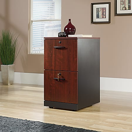 "Sauder® Via 19-1/2""D Vertical 2-Drawer Pedestal File Cabinet, Classic Cherry/Soft Black"