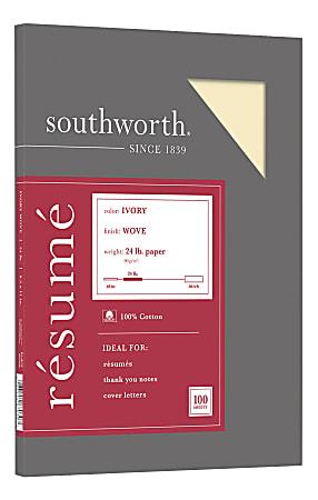 """Southworth® 100% Cotton Résumé Paper, 8 1/2"""" x 11"""", 24 Lb, 100% Recycled, Ivory, Pack Of 100"""