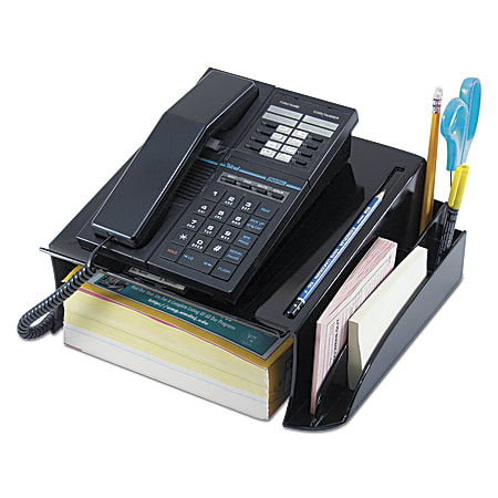 """Universal® Telephone Stand And Message Center, 5 1/4""""H x 12 1/4""""W x 10 1/2""""D, 30% Recycled, Black"""