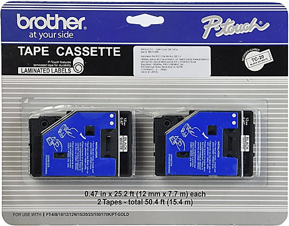 """Brother® TC-20 Black-On-White Tapes, 0.5"""" x 25', Pack Of 2"""