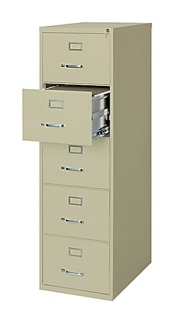 """WorkPro® 26-1/2""""D Vertical 5-Drawer Legal-Size File Cabinet, Metal, Putty"""