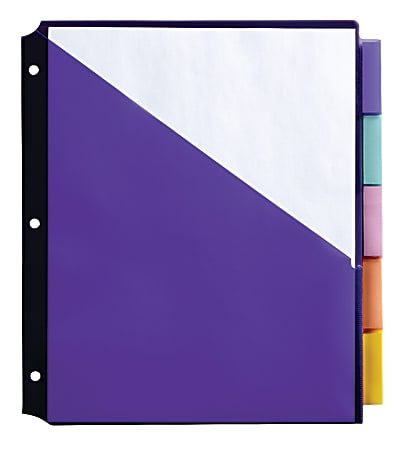 """Office Depot® Brand Double Pocket Insertable Plastic Divider, 5-Tab, 9"""" x 11"""", Assorted Colors"""