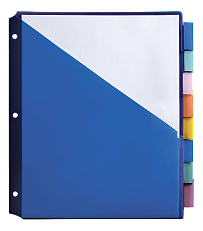 """Office Depot® Brand Double-Pocket Insertable Plastic Divider, 8-Tab, 9"""" x 11"""", Assorted Colors"""