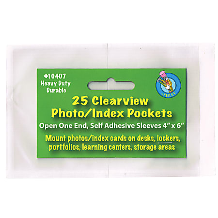 """Ashley Productions Photo/Index Card Pockets, 4"""" x 6"""", Clear, 25 Pockets Per Pack, Set Of 5 Packs"""