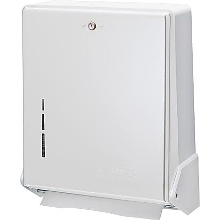 "San Jamar True Fold Towel Dispenser - C Fold, Multifold Dispenser - 300 x Towel C Fold, 500 x Towel Multifold - 14.5"" Height x 11.6"" Width x 5"" Depth - Metal, Plastic - White - Touch-free, Break Resistant, Impact Resistant"