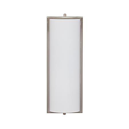 "Southern Enterprises Julian Indoor LED Wall Sconce, 5""W, White Shade/Brushed Nickel Base"